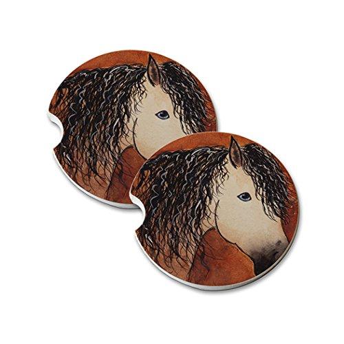 Buckskin Quarter Horse (Natural Sandstone Car Drink Coasters (set of 2) - Buttermilk Buckskin Quarter Horse Abstract Art by Denise Every)