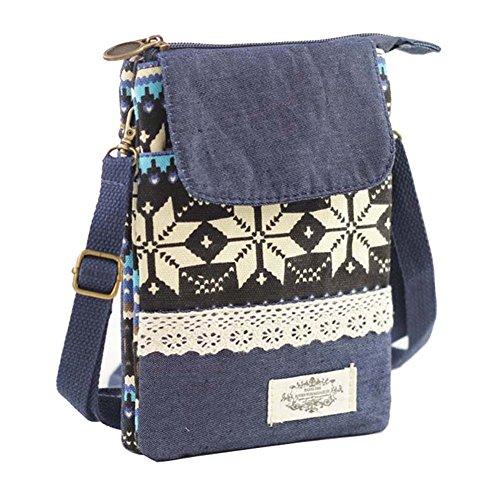 Deals Prime Amazon (Amazon Prime Deal Sale 2017-Cross Body Cell Phone Shoulder Pouch Bag for iPhone 7 6S 6 SE, Welegant Retro Bohemia Mini Smartphone Clutch Wallet Purse (Style A, Navy Blue))