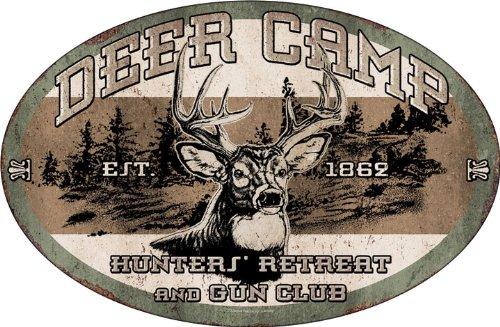 Oval Metal Tin Sign Deer Camp12