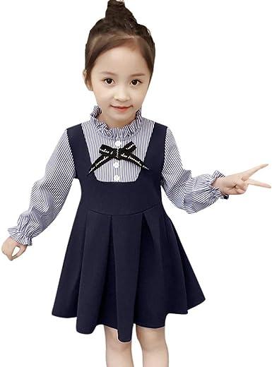 Toddler Kids Little Girls Dresses Long Sleeve Stripe Ruffles Party Princess Dress