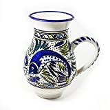 Le Souk Ceramique Large Pitcher, Aqua Fish Design