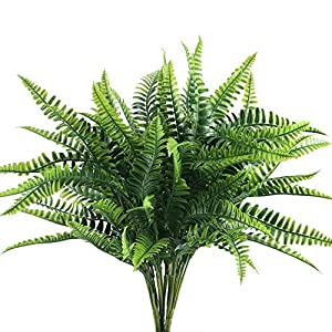 Nahuaa 4Pcs Artificial Boston Fern Plants Fake Evergreen Shrubs Faux Plastic Greenery Bushes Bundles Indoor Outdoor Hanging Basket Filler Home Kitchen Table Centerpieces Arrangement Spring Decorations 28