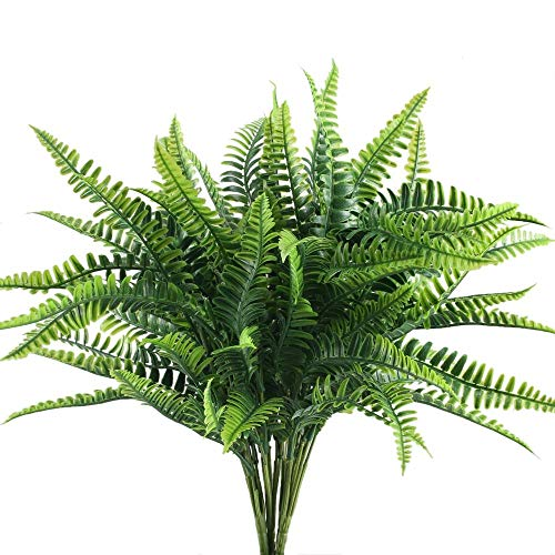 Nahuaa 4Pcs Artificial Boston Fern Plants Fake Evergreen Shrubs Faux Plastic Greenery Bushes Bundles Indoor Outdoor Hanging Basket Filler Home Kitchen Table Centerpieces Arrangement Spring Decorations