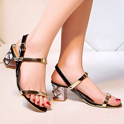 Block Toe Black TAOFFEN Sandals Fashion Shoes Women Summer Heel Open BYPPzqx