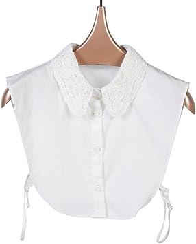 La mitad de la camisa de algodón de cuello desmontable falso JLZCS-01 de las mujeres de la vendimia (Blanco): Amazon.es: Juguetes y juegos