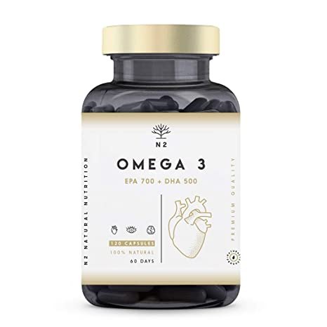 Omega 3 2000mg, 700mg EPA, 500mg DHA. Aceite de Pescado, Vitamina E. Regula el Colesterol, Favorece la Vista, Corazón y Cerebro Saludables. Libre de ...
