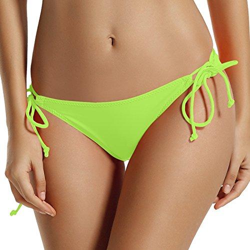Leopard Tie Side Bikini (Reteron Women's Sexy Brazilian Tie Side Bikini Bottom 2 pack M Lime Aqua Sky)