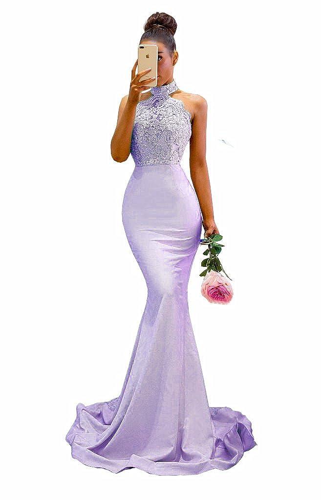 purplec MariRobe Womens Halter Neck Mermaid Appliques Lace Long Bridesmaid Dress Formal