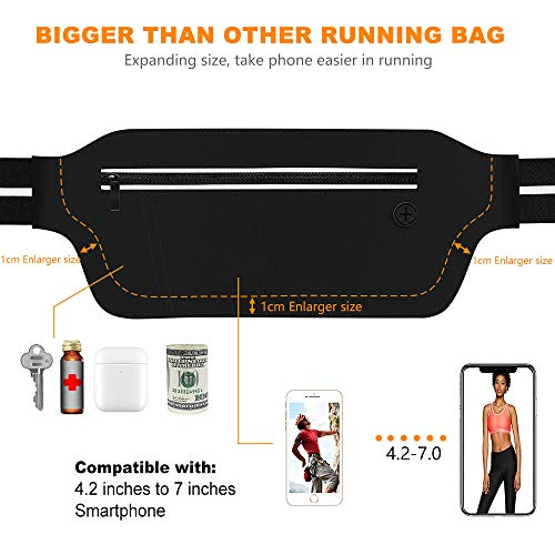 SUPOLOGY Ultra Slim Running Belt with BPA-Free Water Bottle and LED Light for Hiking Travel Walking, Running Bag Waist Pack for Men and Women