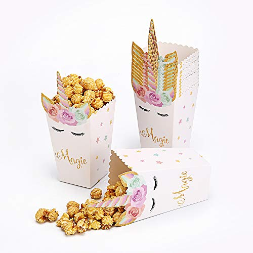 24 Pcs Unicorn Popcorn Boxes Party Favor Snack Candy Cookie Containers for Baby Shower or Birthday Party Supplies Decorations]()