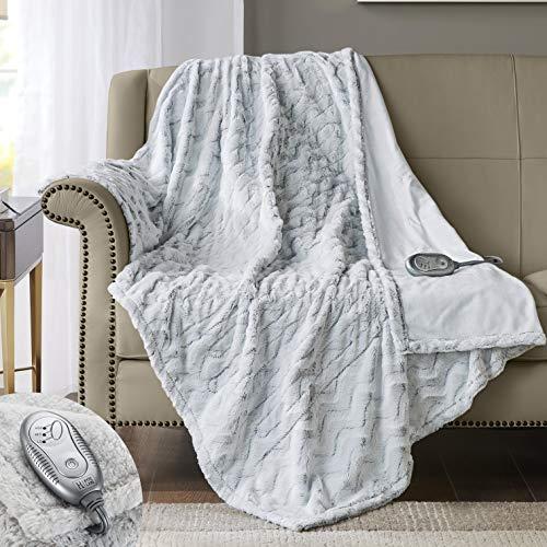 Hyde Lane [Premium Heated Faux Fur Throw Blanket Wave Design