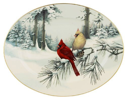 Gold Banded Fine China - Lenox Winter Greetings Scenic 16-Inch Gold-Banded Fine China Oval Serving Platter