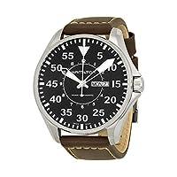 Hamilton Khaki Pilot Black Dial Correa de cuero Reloj de hombre H64715535