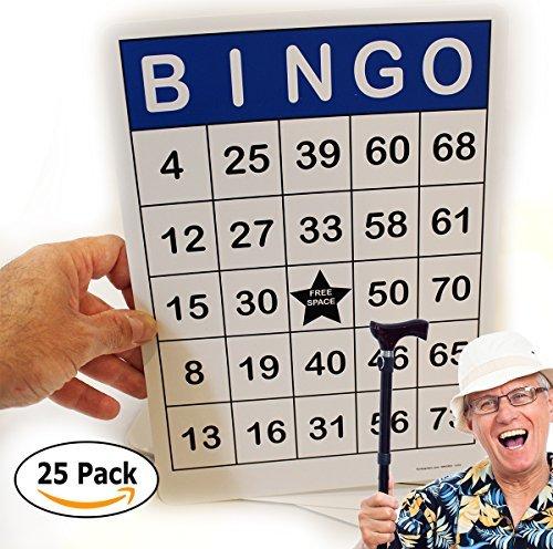 Jumbo Bingo Cards 25 Pc. Gloss Lamination 8.5 x 11 – Easy to read