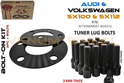 2 Pc Black Hub Centric Wheel Spacers | 3 MM Thick | 5x100 & 5x112 MM | + 10 Black Locking Spline Tuner Lug Bolts | Aftermarket Wheels Only - Small Diameter Works with Volkswagen & Audi