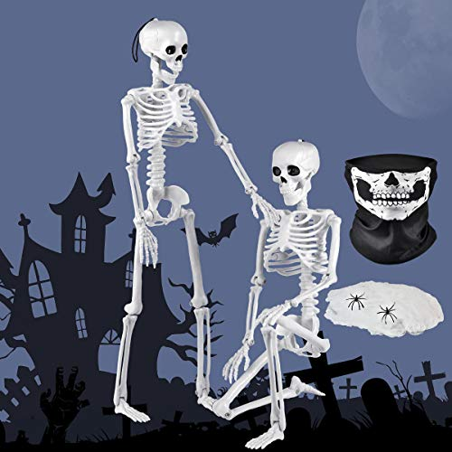 2 Packs 16 Inches Halloween Posable Skeletons Decoration Set,Full Body Movable Joint, 40 Square Foot Fake Spider Web - 2 Little Spiders, 1 Pcs Scary Skull Face Mask, Halloween Party Props
