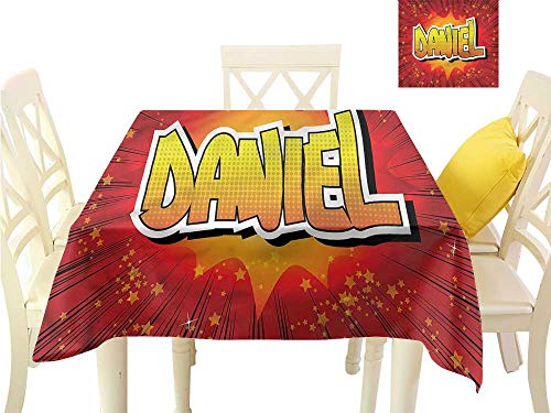 WilliamsDecor Christmas Tablecloth Daniel,Stars American Boys Name Dining Table Cover W 36