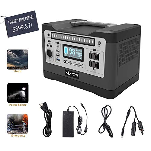 KYNG Power Solar Generator Portable Power Station 540Wh 1000w Peak Lithium Battery Back Up Power Supply Emergency, CPAP, Outdoors, Camping, Silent Generator Rechargeable Inverter, 4 USB, AC Outlet