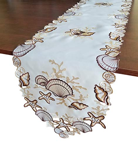 - GRANDDECO Seashell Table Runner,Applique Embroidered with Cut-Work Beach Table Linen, Home Kitchen Dining Tabletop Decoration, Runner 13