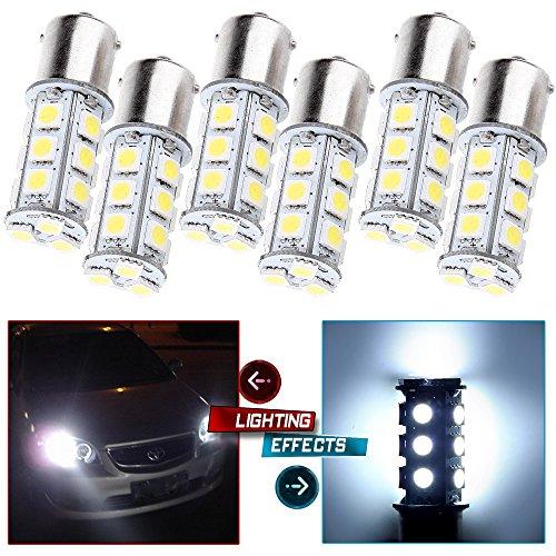 CCIYU Backup Light, 1156 BA15S 5050 18SMD LED Light Bulb 7503 1141 For Brake Light RV High Mount Stop Light Rear Side Marker Light, 6 Piece White (Rear Brake V90)