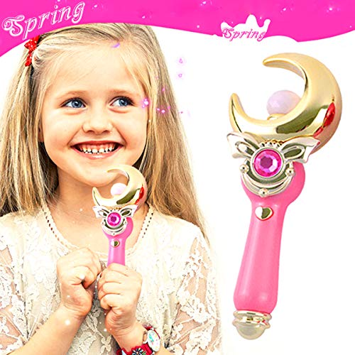 YSpring Sailor Moon Magic Wand Toys Cute Music + Flash Light Transfiguration Toy Proplica Moon Crescent Wand for Little Girls Anime Cosplay Props (Moon-Pink)