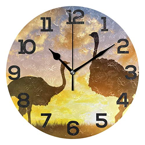 Dozili Wild Animal Ostrich Sunset Round Wall Clock Arabic Numerals Design Non Ticking Wall Clock Large for Bedrooms,Living Room,Bathroom (Design Pbteen Room)