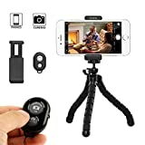 iPhone Tripod,YoYo Stand Holder,Octopus Style Portable and Adjustable with Bluetooth Remote and Universal Clip,Tripod for Android & iOS Phone,Camera (Black)