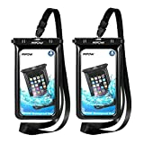 Mpow Fluorescent Waterproof Phone Pouch, Universal IPX8 Waterproof Case Dry Bag Extra Wrist Strap iPhone X/8/8P/7/7P, Samsung Galaxy S9/S9P/S8/S8P/Note 8, Google Pixel/HTC up to 6.0""