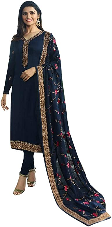 Indian Navy Blue Designer Georgette Stitched Partywear Ethnic Salwar Kameez