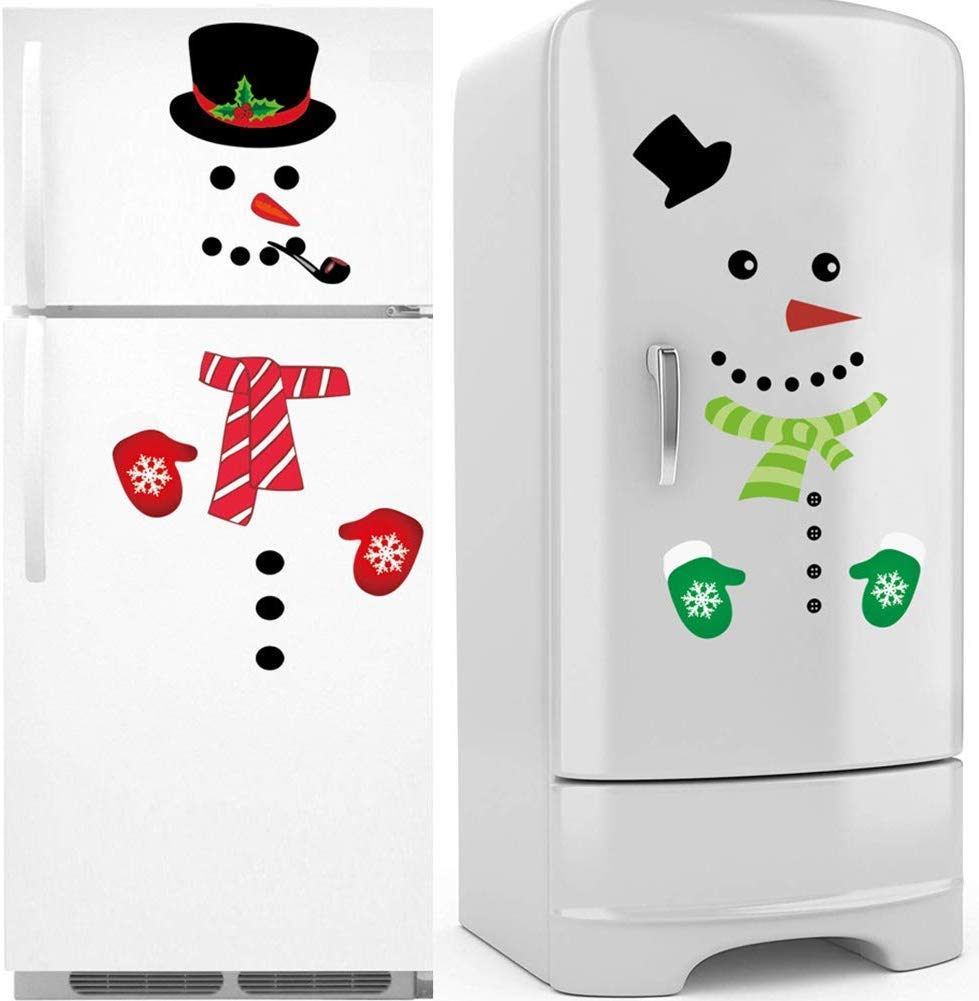 ROXENDA Christmas Snowman Stickers, Holiday Decorations Set-Santa Claus Snowman Handle Covers Snowman Appliance Decals for Refrigerator, Garage, Office Cabinets, Door and Windows