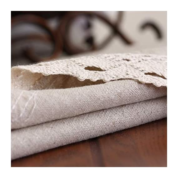 "Enova Home Natural Simple Rectangle Cotton and Linen Washable Tablecloth, Lace Table Cloth Cover with Pattern Printed for Kitchen Dinning Tabletop (54 x 80 Inch, Simple White) - Material: 60% Cotton 40% Linen; Measures 54"" Wide x 78.7"" Length (140 x 200 cm),includes lace macrame length Care Instructions: Machine wash cold delicate, hand wash best; hang up to dry;low iron;don't bleach Suitable for kitchen room, dining room, and family room - tablecloths, kitchen-dining-room-table-linens, kitchen-dining-room - 51J0GGtQZ1L. SS570  -"