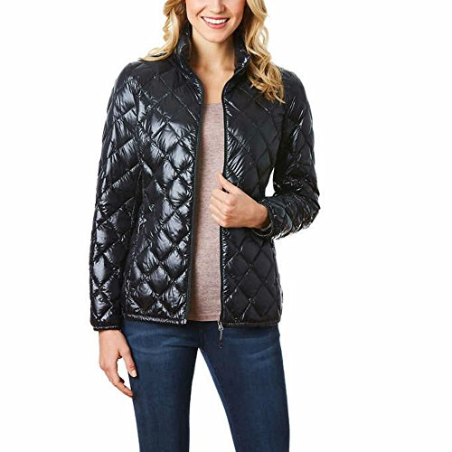 32 DEGREES Women's Nano Light Down Packable Diamond Quilted Jacket -Black Shiny- S