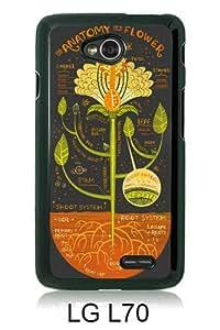 Popular Sale LG L70 Case,flower antomy Black Customized Picture Design LG L70 Phone Case