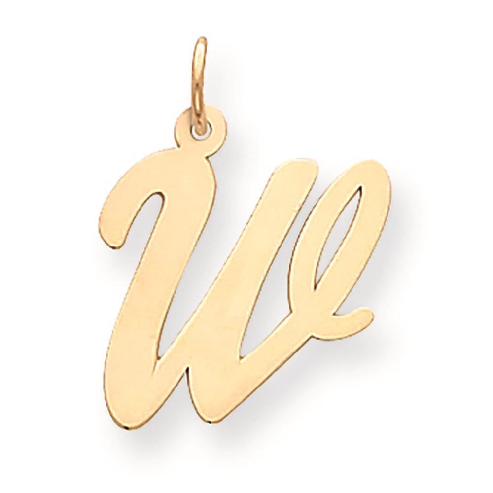 14K Yellow Gold Large Script Initial W Charm Pendant