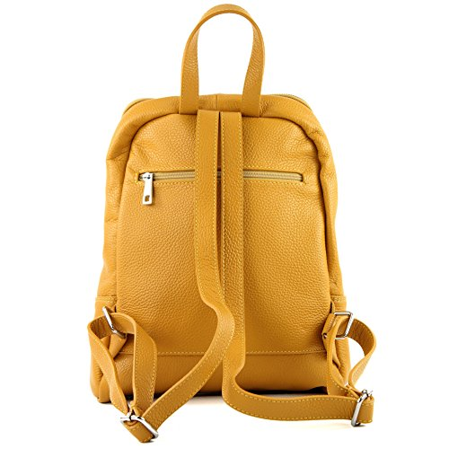 Ital Modamoda Rucksack Mustard Yellow T138 Citybag Backpack Leather De Ladies Bag 55qrXfw