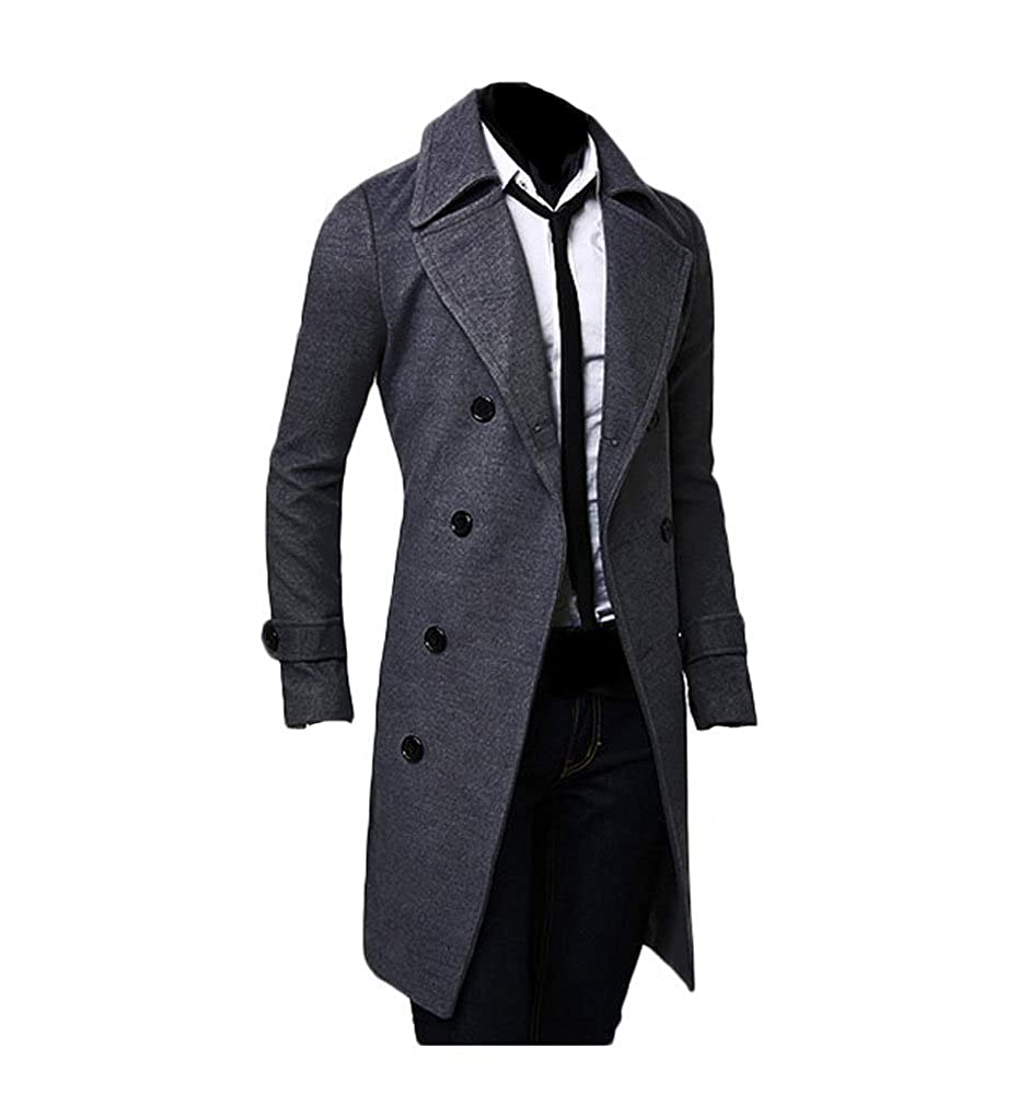 King Ma Mens Winter Trench Double Breasted Slim Long Jacket Overcoat