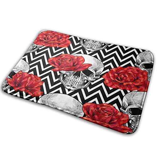 Skull Door Mat (Skull Head with Red Rose Bath Mat Polyester Front Door Mat Bathroom Rugs Carpet for Inside Outdoor 15.7 X 23.5)