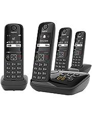 Gigaset AS690A Quattro 83167 Hemtelefon, Svart, Paket med 4