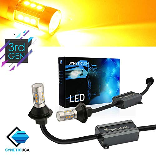 Error Free Canbus Ready Yellow/Amber LED Front/Rear Turn Signal Light Bulbs DRL Parking Lamp No Flicker All in One (7443)