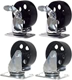 Set of 4 All Steel Swivel Plate Casters and 2 with Brake Lock 3.5'' Wheel 1300lb