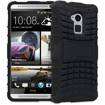 Fosmon HYBO-RAGGED Series Detachable Hybrid TPU + PC Kickstand Case for HTC One Max / HTC T6 (Black)