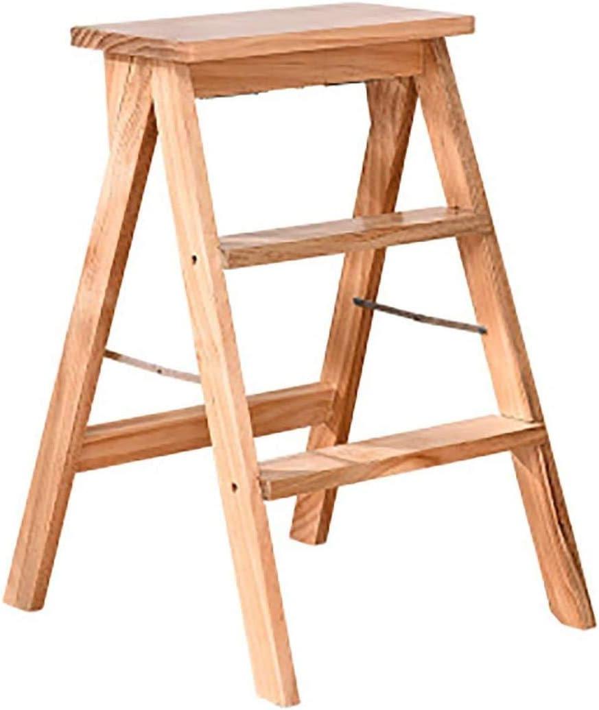 Klappleiter 3 Stufen Holzleiter Herringbone K/üche Massivholzstuhl 39X20X64Cm,Holzfarbe 3 Farben Optional WJB T-Leiter Leiter Hocker