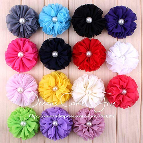 Decorations 200pcs/lot 6.5CM 15 Colors Newborn Fashion Artificial Hair Flowers with Pearl Button Chic Chiffon Flower Accessories for Baby by Unknown