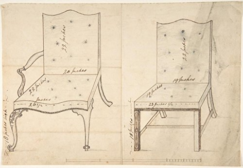- Fine Art Print | British, 18th Century | Designs for an Armchair and Side Chair | Vintage Wall Art | 11in x 14in