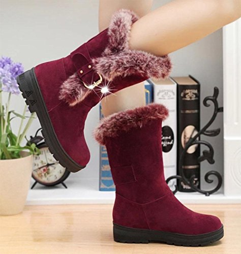 Redonda Piel Moda Deportes Botas Con Caliente Áspero Nieve De 001 Zapatos Cabeza Casual Meili Mujer XU7wqAOz