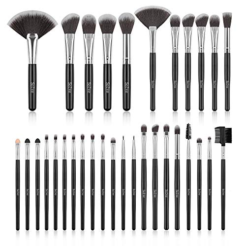 Makeup Brush Set, SOLVE 32 Pieces Professional Makeup Brushes Wooden Handle Cosmetics Brushes Foundation Concealer Powder Face Eye Make up Brushes Kit, Black (Makeup 32 Beauty Piece Set)