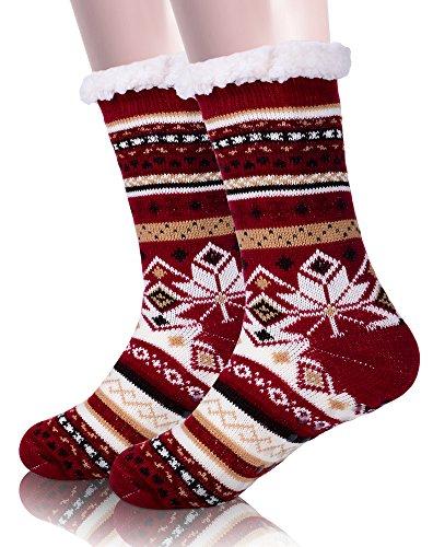 Bright Stripe Fleece (EBMORE Womens Christmas Gift Fuzzy Warm Snowflake Fleece Winter Slipper Socks (Purple))