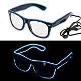 Ansee Light up Glasses LED Glow Neon Glasses El Wire Flashing Glasses Party Favors for Halloween Party (Blue with Sound Control)