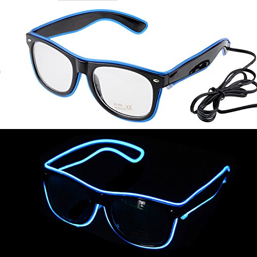 Ansee Light Up Glasses LED Glow Neon Glasses EL Wire Flashing Glasses Party Favors For Halloween Party (Blue Without Sound Control)