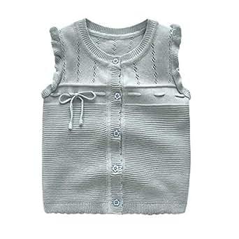 Xifamniy Infant Girls Autumn&Winter Sweater Cotton Knit Bow Design Round Neck Vest Coat Blue-Gray